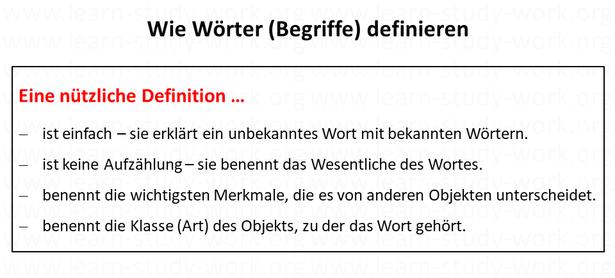 Wie Wörter - Begriffe definieren - www.learn-study-work.org