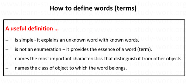 How to define a word / a term - www.learn-study-work.org