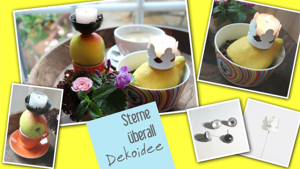 Tischdekoration mit Zitrone und Apfel als Dekoidee mit Teelichthaltern