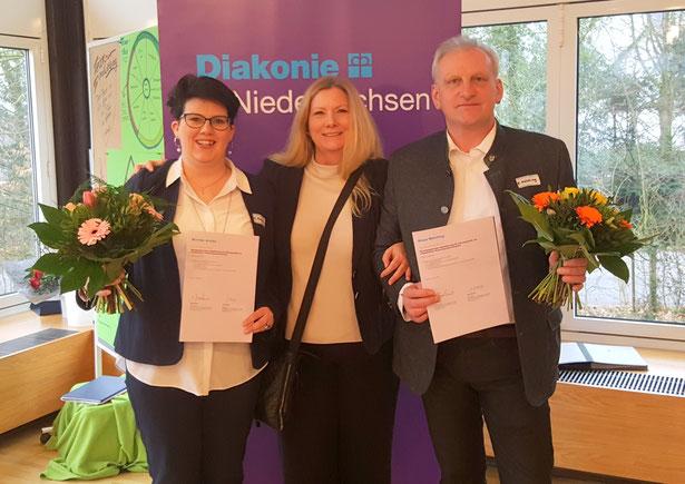 (von links nach rechts) Mareike Arneke, Anja Sohns, pädagogische Leitung des Kindertagesstättenverbandes Holzminden- Bodenwerder, Klaus Melching
