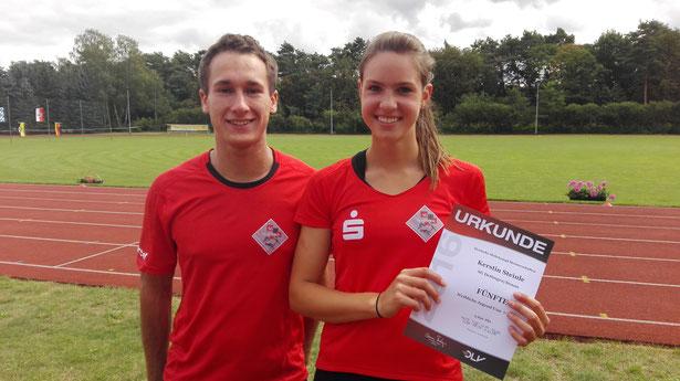 Sehr zufrieden mit dem fünften Platz: Kerstin Steinle mit ihrem Trainer Marcel Fieder