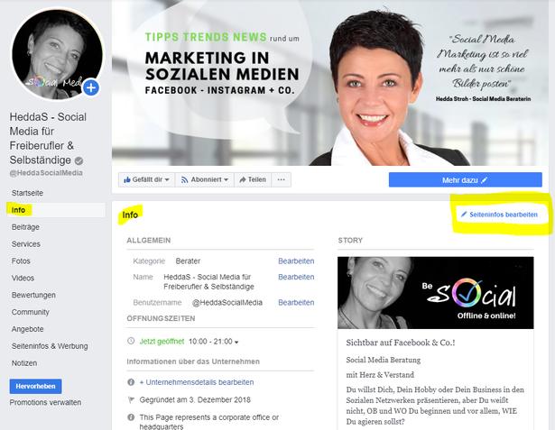 beispielhafter Screenshot von der Fanpage Seite von Hedda Stroh mit gelb markierten Bearbeitungsbereichen