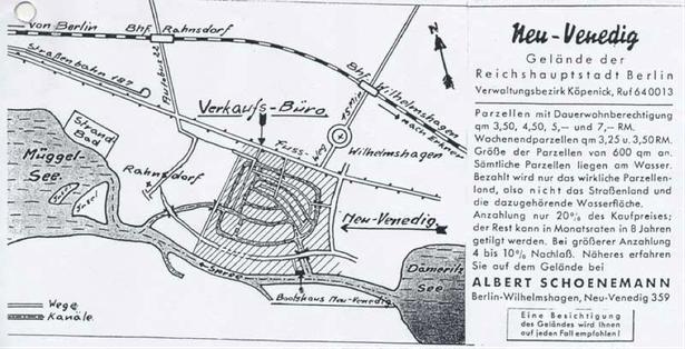 Neu Venedig / Kanutour / Geländeplan Neu Venedig
