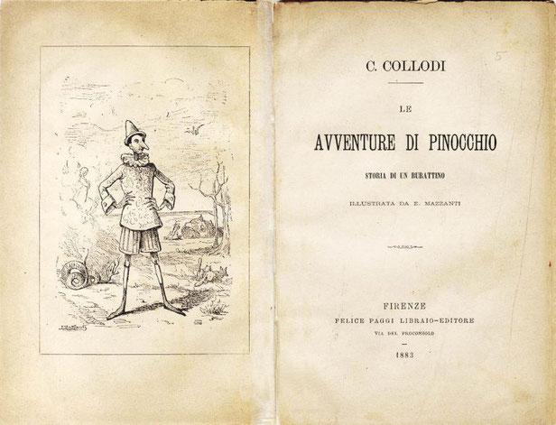 """Prima edizione de """"Le avventure di Pinocchio, storia di un burattino"""" integrale, 1883"""