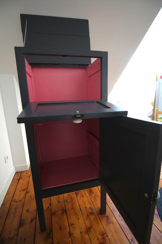 DIY meuble secrétaire repeint avec gris beluga et rose roudoudou Tollens