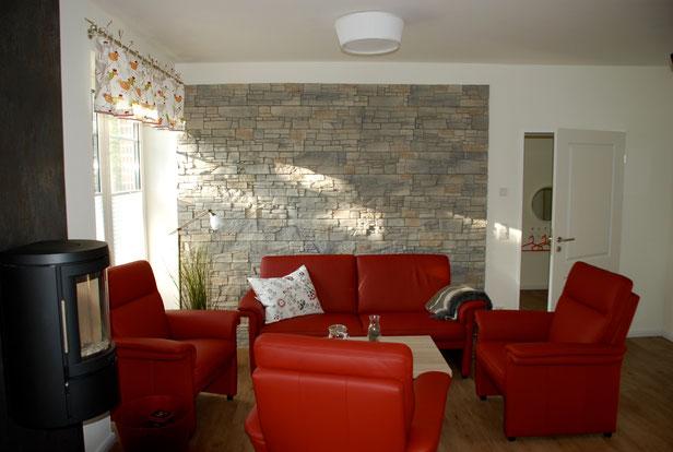 Sitzecke Wohnbereich mit Kaminofen