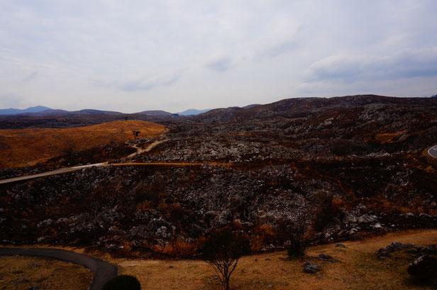 最期の絶景は秋吉台カルストロード。野焼きのあとで爆弾が落ちた後のよう・・・