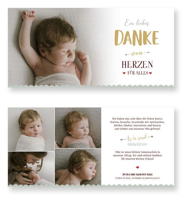 Dankeskarte Baby Schweiz Geburtsanzeige Dankeskarte Geburt