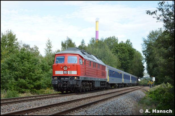 Die Einsätze von 234 278-0 am RE 6 im Spätsommer 2019 gehören zu den Highlights der letzten Jahre. Am 3. September 2019 verlässt ein solcher Zug Chemnitz-Küchwald gen Leipzig
