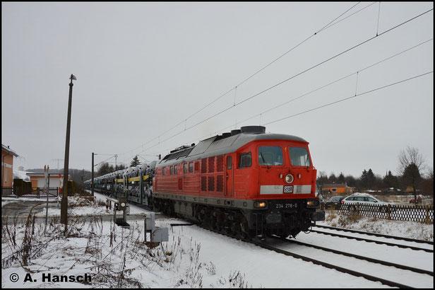 234 278-0 wurde von Martin Schlünß Eisenbahnlogistik wieder zum Leben erweckt. Am 26. Januar 2019 fährt sie mit DGS 95062 durch den Bk Niederhohndorf