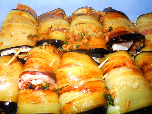 Involtini auf sizilianische Art mit Auberginen