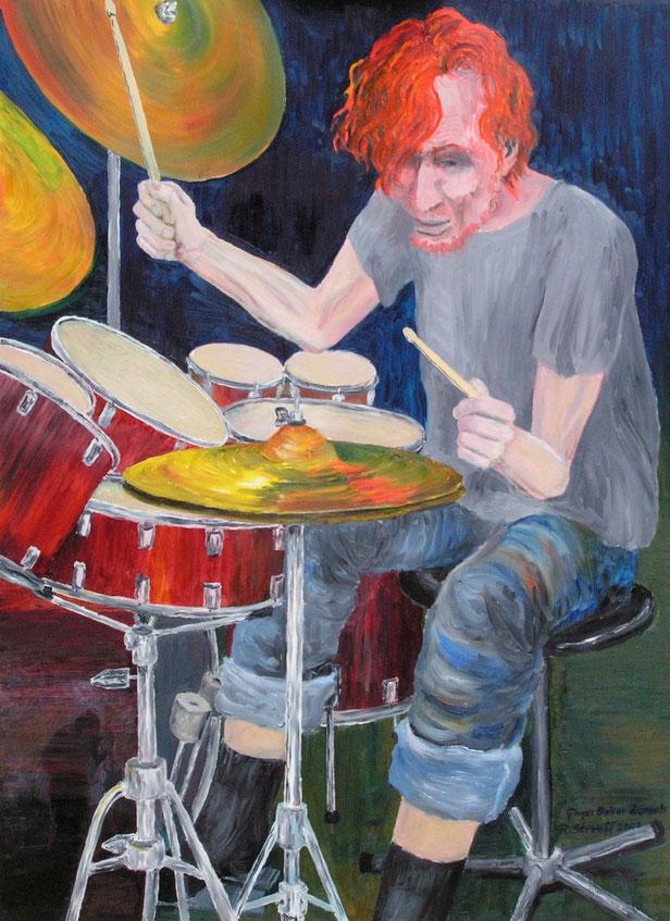 Portrait, Ginger Baker, Malerei, Musik