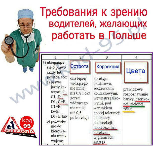 Медкомиссия для работы дальнобойщиком в Польше