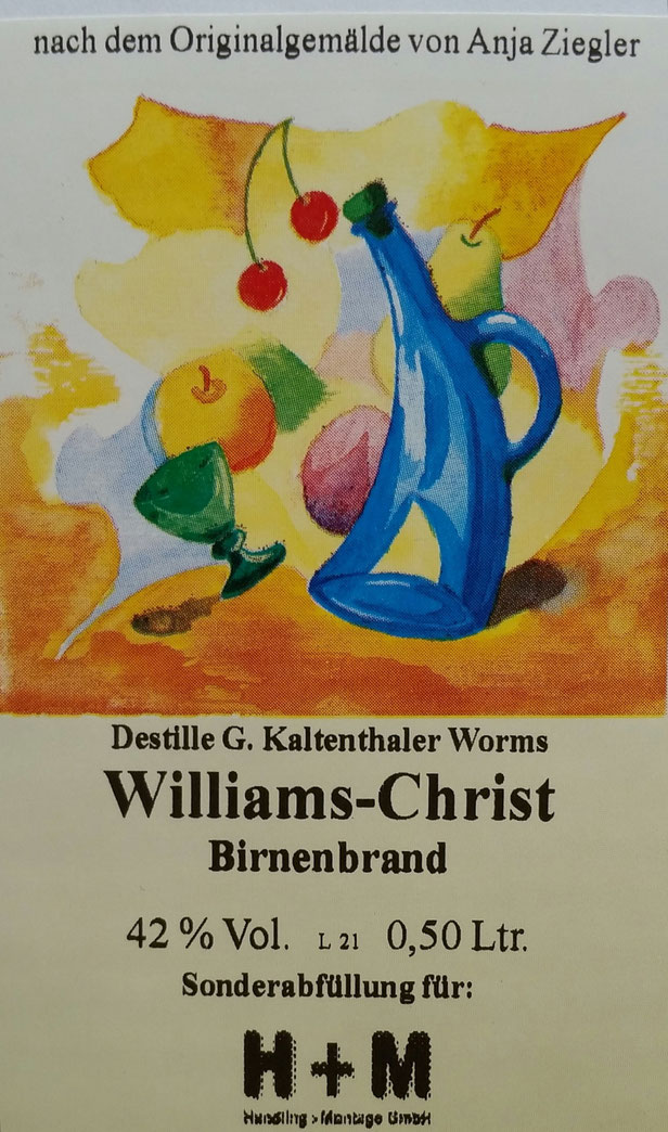 Etikett für eine Destille aus Worms für verschiedene Schnäpse z. B. Williams, Pflaume u. s. w., Original in Aquarell