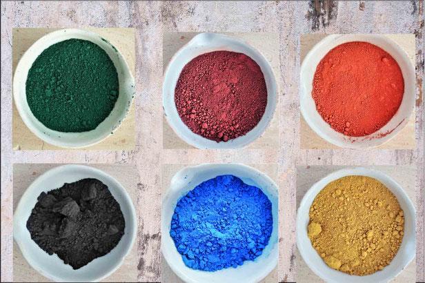 6 mineralische  Farbpigmente zum einfärben von Beton, Farben und Zementestrichen