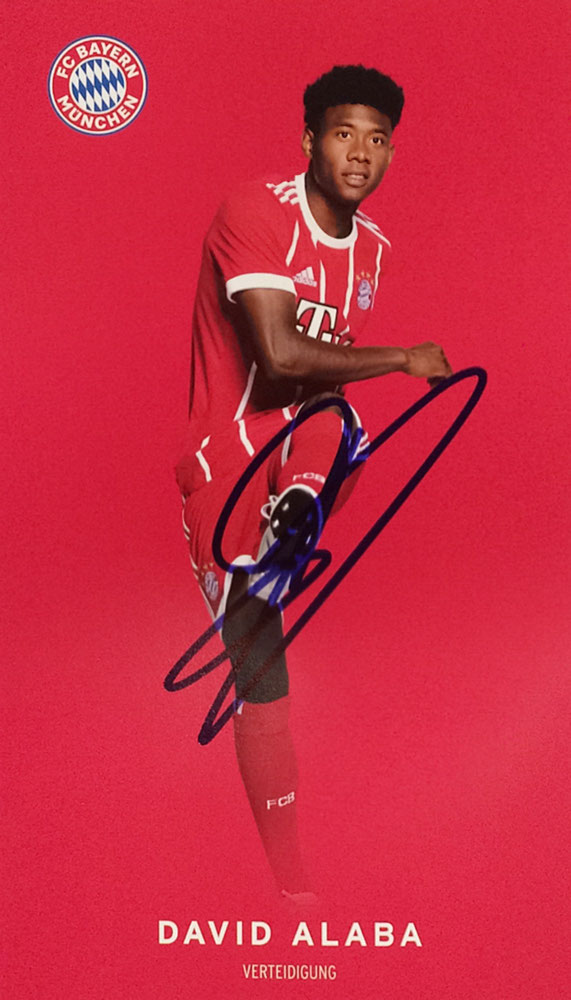 David Alaba Bayern Munich, 6 times German Champion, Champions League 2013, 4 times German Cup, 6 times Austrian Football Player of the Year, Autograph by Mail