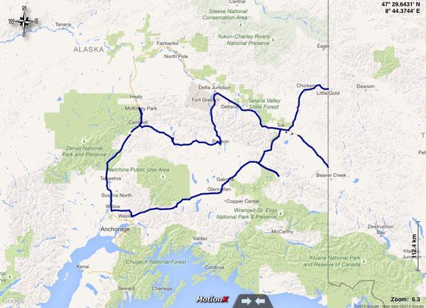 gefahrene Route durch Alaska