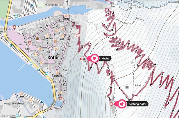 Wanderung Festung Kotor - Karte von outdooractive