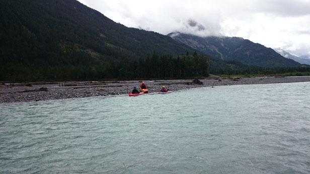 Kai, Christian und Konstantin auf dem Lech 16.08.2014 (4km oberstrom Weissenburg)