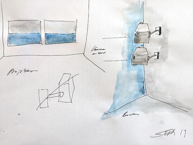 KANTE (QUALITATIV) | 2019 | Konzept für eine 2-Kanal Closed-Circuit-Videoinszenierung, 2 Videokameras, 2 Wandstative, Sockel, 2 Videoprojektoren, Farbe