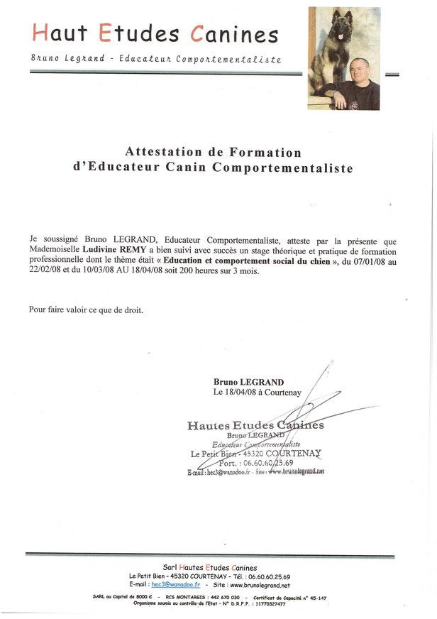 2008 Formation Educateur Canin Comportementaliste (Bruno Legrand)