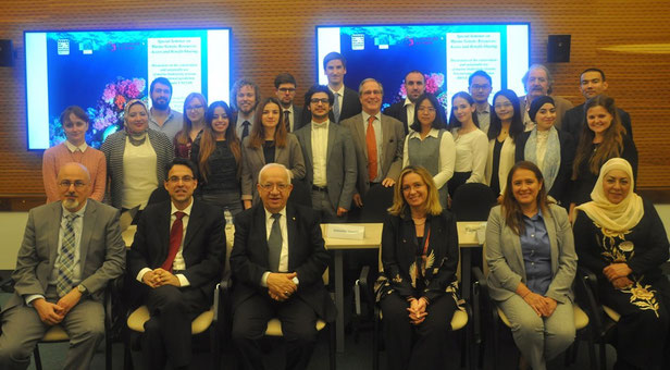 Seminar speakers (foreground) L-R: J. Brincat, S. Bhatti, A. Behnam, A. Vassallo, L.J. Castro and seminar participants and faculty (background).  Photo Credit: C. Chivu
