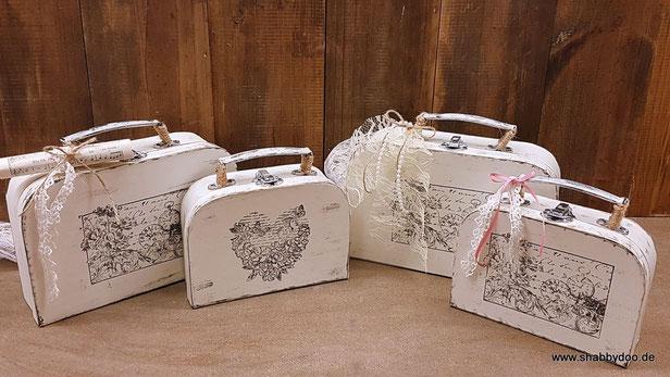 Chice shabby Deko kleine Koffer vintage Stil mit Spitze und Notenblatt Geschenkverpackung Hochzeit