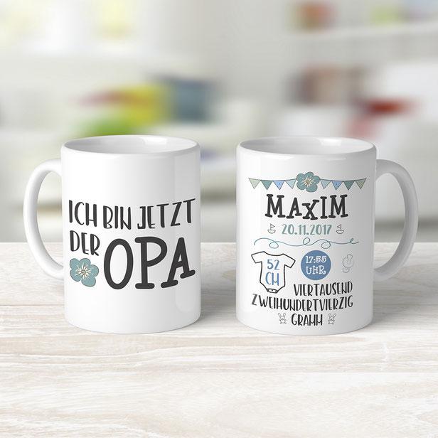 Tasse für Opa mit Geburtsdaten des Enkels