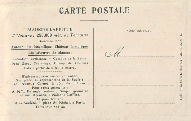 maisons-laffitte carte postale de la vente de terrain du chateau de maisons-laffitte