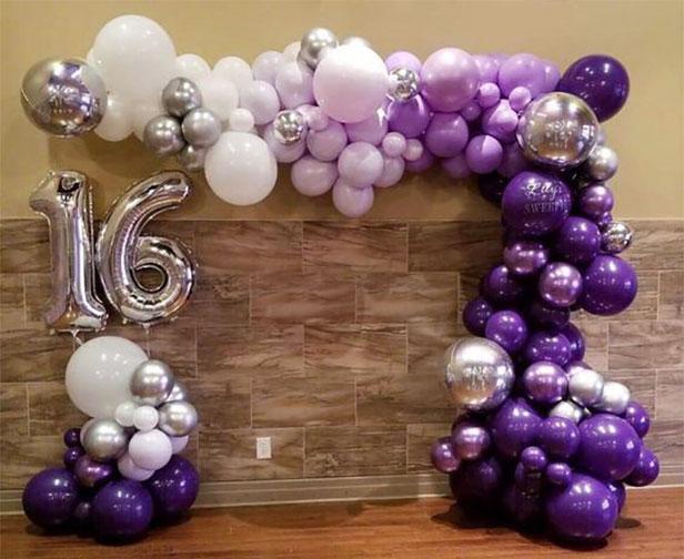 arreglo de globos para fiesta 16 años