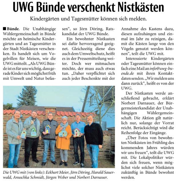 Mit freundlicher Genehmigung der Neuen Westfälischen (Artikel vom 19.08.2020)