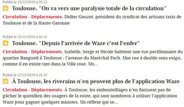 """Simple recherche du mot """"waze"""" sur le site de La Dépêche"""