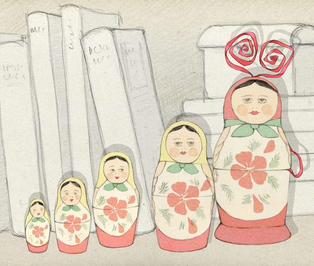 Le petit elfe se cache dans une poupée russe