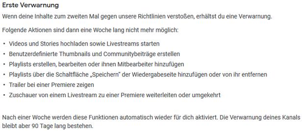 erste Verwarnung erster Strike auf YouTube Konsequenzen - Rechtsanwalt Sven Nelke