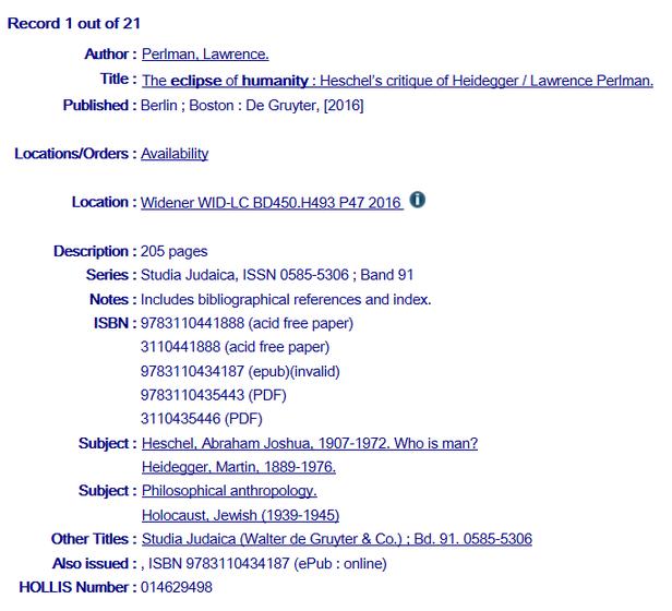 Anzeige eines Bands einer monografischen Reihe im OPAC der Harvard Library