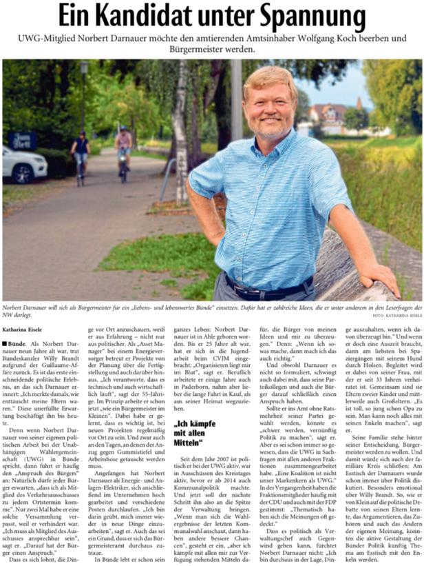Mit freundlicher Genehmigung der Neuen Westfälischen (Artikel vom 01.09.2020)