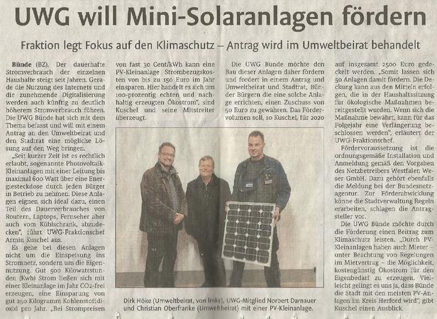 Mit freundlicher Genehmigung der Bünder Zeitung (Artikel vom 28.02.2020)