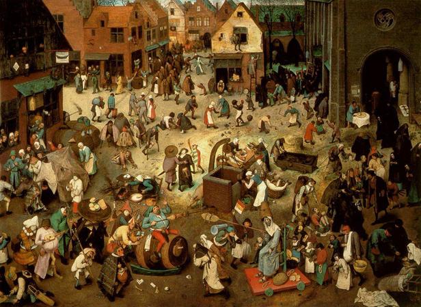 """Pieter Bruegel il Vecchio, """"Lotta tra Carnevale e Quaresima"""", 1559"""