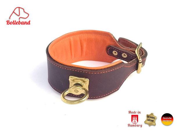 Schweißhalsung Leder Nachsuchehalsband braun orange mit Messingwirbel Handarbeit Bolleband