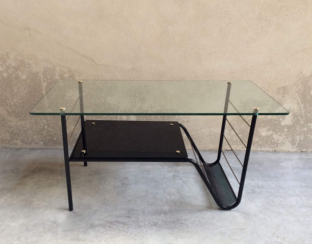 Pierre Guariche, Airborne, table basse vintage, table verre, table métal, laiton