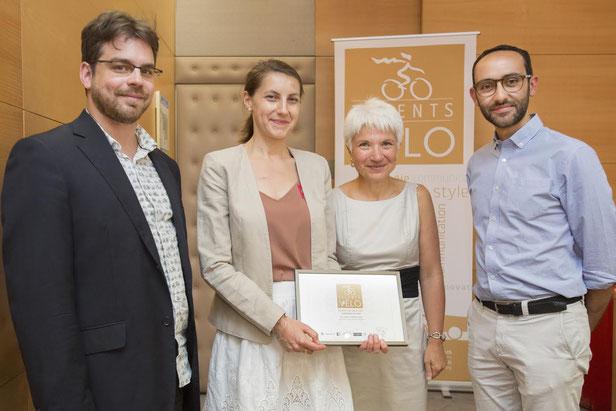 De gauche à droite: Olivier Schneider, Président de la Fub; Stéphanie, cofondatrice de Velook.fr; Sylvie Banoun, coordinatrice interministérielle pour le développement de l'usage du vélo; Léry, cofondateur de Velook.