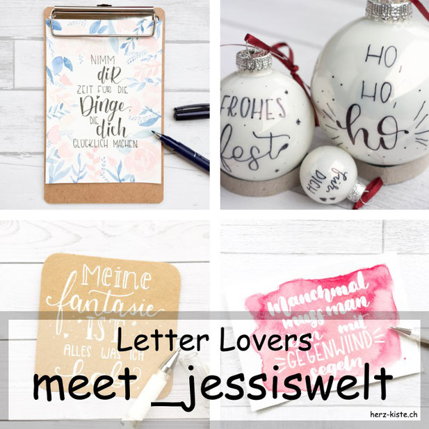 Letter Lovers in der Herz-Kiste: _jessiswelt zu Gast im Lettering Interview mit einer Anleitung für beletterte Weihnachtskugeln