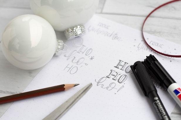 Anleitung: Handlettering auf Weihnachtskugeln - Schritt 1: vorzeichnen