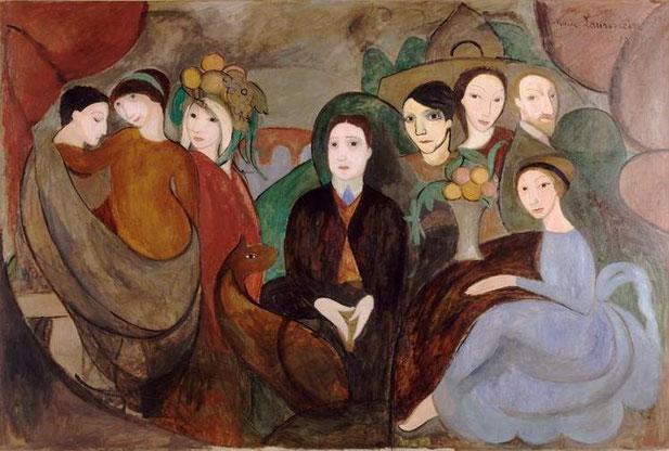 マリー・ローランサン「アポリネールと彼の友人」(1909年)