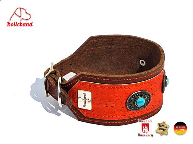 Exclusives Windhundhalsband indianisches Design braunes Fettleder mit Oberleder in orange und Perlen in türkis Handarbeit Bolleband
