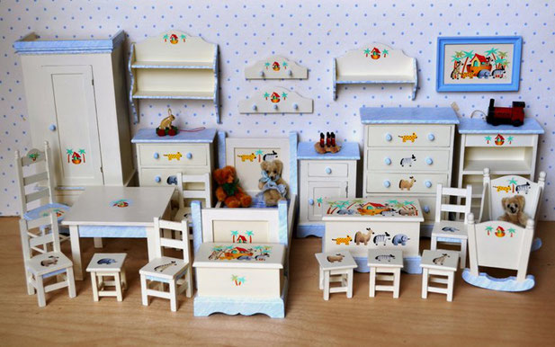 """"""" Noah's Ark """" Furniture with Blue Marbling"""