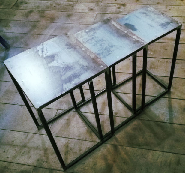 Mobili in ferro milano, Design in ferro Milano, Strutture in ferro milano, Prototipi per designer,arredamento in ferro milano,tris tavolini in ferro,tavolini in ferro
