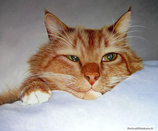 portrait-peinture-d-un-chat