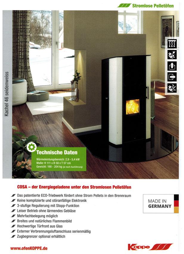 stromloser pelletofen koppe cosa ofenhaus mainspitze. Black Bedroom Furniture Sets. Home Design Ideas