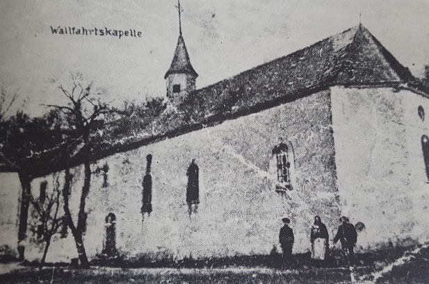 Heute stehen an der Valentinskapelle noch die Restmauern mit Kreuz und Altar